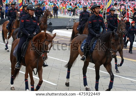 KUALA LUMPUR, MALAYSIA - AUGUST 29,2016 : Rehearsal parade for celebrating the independence day of Malaysia. Malaysia Independence Day Parade will be held on August 31,2016 #475922449