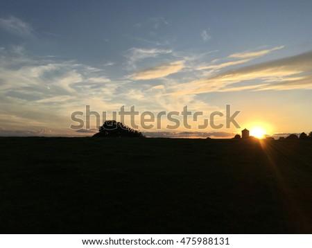 Sunset landscape in Izier Belgium  #475988131