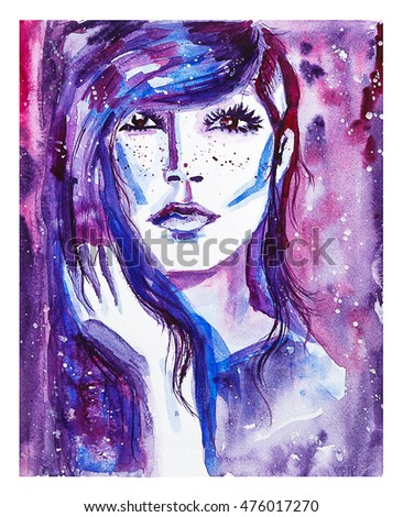 Young white beautiful woman with stars in her hair. Watercolor fashion illustration.Magic, cosmos, beauty, fantasy, abstract art. Isolated raster illustration. #476017270