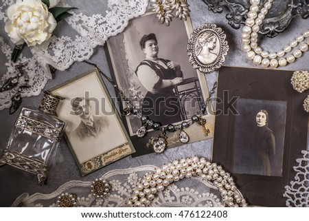 Old photos and vintage jewelry