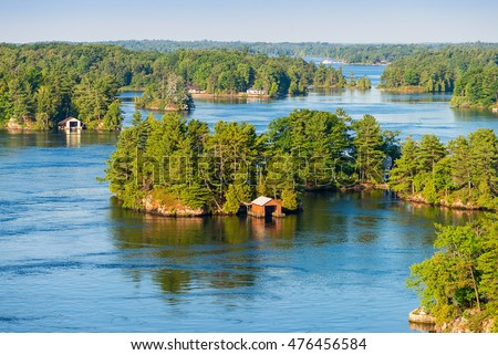 Boathouses in Thousand Islands region in Ontario #476456584
