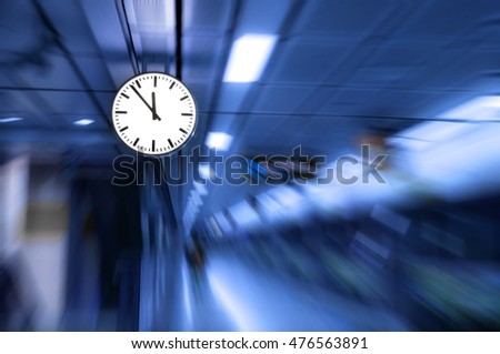 clock blurred ,conceptual image of time running or passing away effect  zoom out alarm clock to movements #476563891