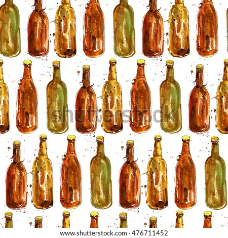 seamless pattern with brown bottles of beer, alcohol drinks ornament, oktoberfest background, hand drawn illustration,oktoberfest template #476711452