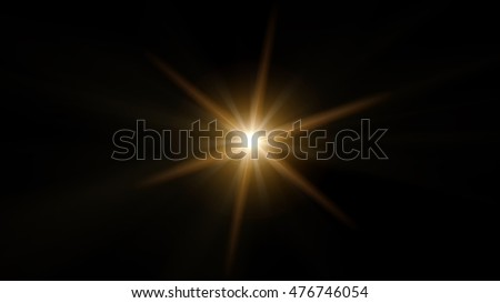 Yellow, beautiful, the lens effect with six rays on a black background. #476746054