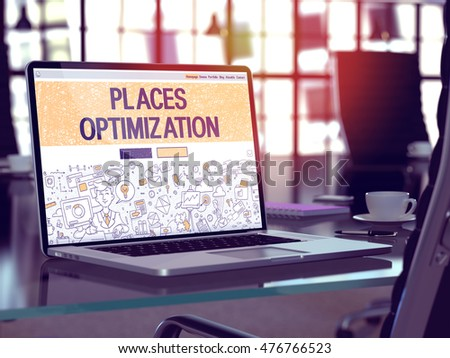 Modern Workplace with Laptop Showing Landing Page in Doodle Design Style with Text Places Optimization. Toned Image with Selective Focus. 3D Render. #476766523