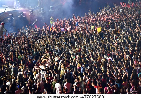 CLUJ-NAPOCA, ROMANIA - AUGUST 6, 2016: Crowd having fun during a Twoloud live concert at Untold Festival #477027580