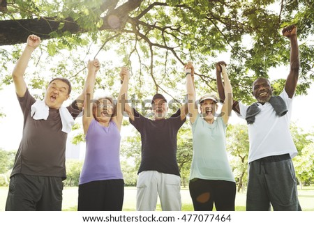 Meet Up Retired Wellbeing Pensioner Workout Concept #477077464