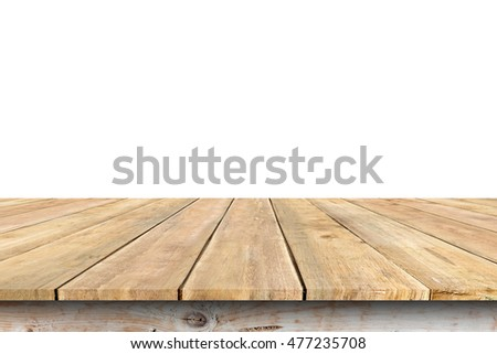 Wooden table isolated on white background #477235708