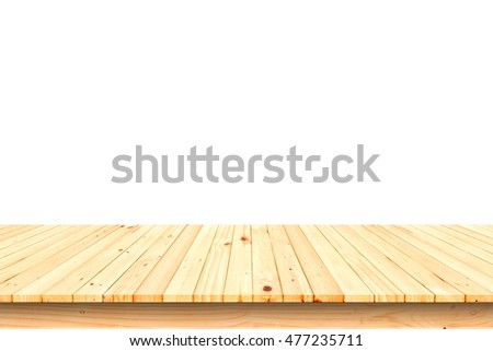 Wooden table isolated on white background #477235711