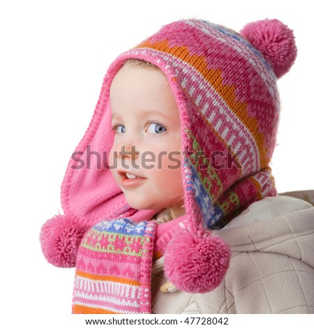 Full isolated studio picture from a young girl with winter clothes