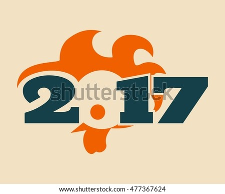 Vector image of an cock. Rooster icon as symbol of the 2017 new year #477367624