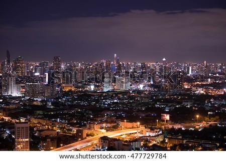 Bangkok, Thailand, at night downtown. #477729784