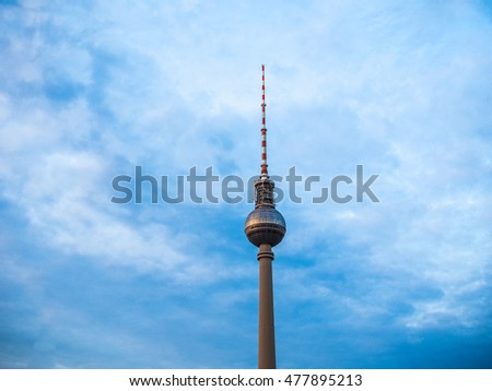BERLIN, GERMANY - CIRCA JUNE 2016: Fernsehturm (meaning Television tower) in Alexanderplatz (HDR) #477895213