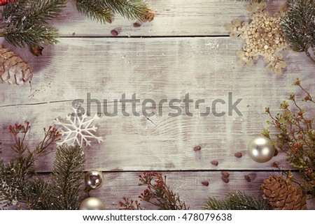 festive Christmas background. photo frame, postcard, poster, invitation. happy new year. stylized background. The view from the top