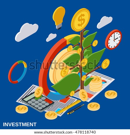 Investment, money tree flat isometric vector concept illustration #478118740