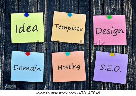 Website plan on stickers post on wooden wall