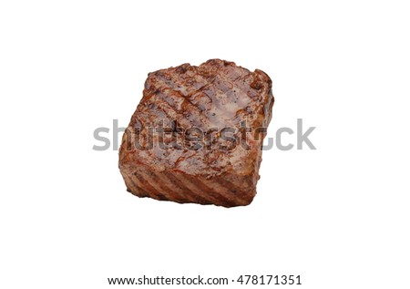 Juicy grilled steak isolated on white background #478171351