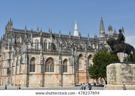 BATALHA, PORTUGAL - AUG 24: Dominican monastery of Santa Maria da Vitoria in Portugal, as seen on Aug 24, 2016. It iwas erected in commemoration of the 1385 Battle of Aljubarrota. #478237894