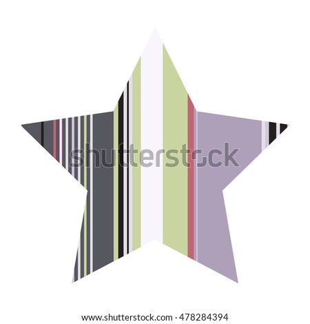 Striped five pointed star icon isolated on white background. Trendy logo design template. #478284394