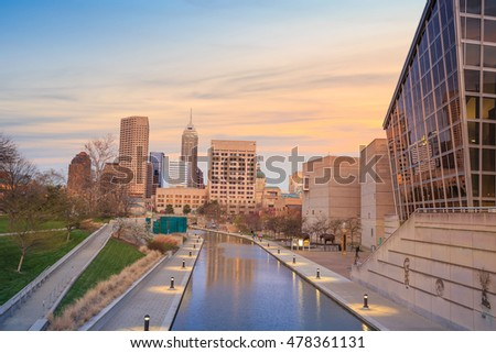 Downtown Indianapolis skyline at twilight