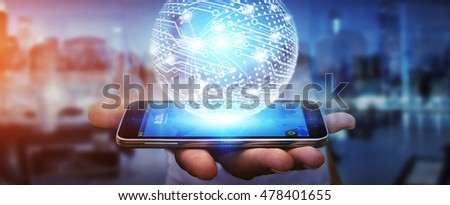 Businessman in office touching digital data network with his mobile phone 3D rendering #478401655
