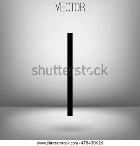 Vector I character. Uppercase. Black minimalistic letter.  #478430626