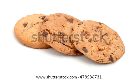 chip cookies isolated on white  #478586731