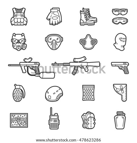 Vector set of black flat line icons for paintball and airsoft equipment and outfit. Collection isolated on white background
