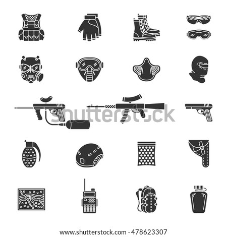 Vector set of black flat silhouette icons for paintball and airsoft equipment and outfit. Collection isolated on white background