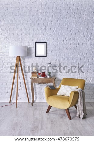 Modern brick wall board interior and furniture #478670575