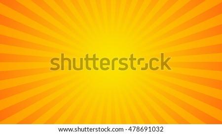 Bright orange rays background. Comics, pop art style. Vector, eps 10.