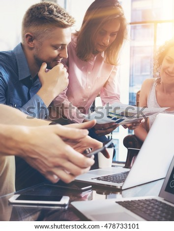 Startup Diversity Teamwork Brainstorming Meeting Concept.Business Team Coworker Global Sharing Economy Report Document Laptop.People Working Planning Start Up.Group Young Man Women Discussing Office #478733101