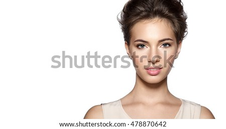 Portrait of a  smiling young  woman with natural make-up #478870642