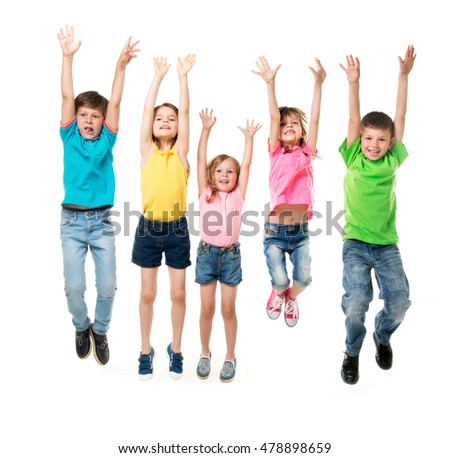 beautiful children in colorful clothes jumping together with hands up isolated on white background #478898659
