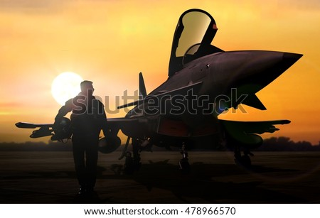 Military pilot and aircraft at airfield on mission standby Royalty-Free Stock Photo #478966570