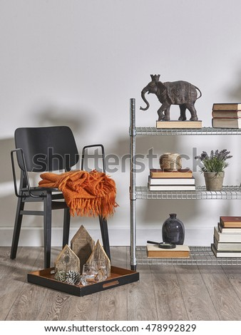 modern bookcase and accessories and frame wall concept room decoration #478992829