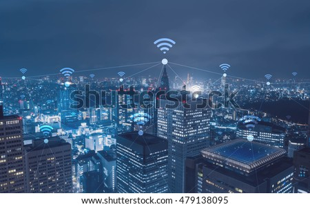 Cityscape with wi-fi connection conceptual,information communication technology concept Royalty-Free Stock Photo #479138095