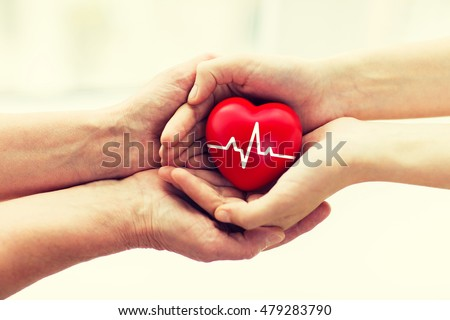 charity, health care, donation and medicine concept - man hand giving red heart with cardiogram to woman #479283790