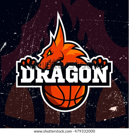 Dragon sport logo basketball design. Vintage college team coat of arms. Vector logotype template. Airsoft squad t-shirt illustration concept