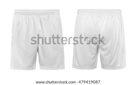Sport shorts ,white color, front and back view isolated on white. #479419087