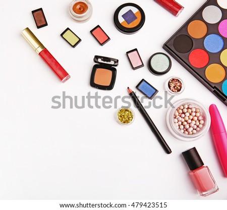 Decorative cosmetic set on white background #479423515