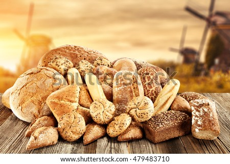 bread and wind mills and sunset time  #479483710