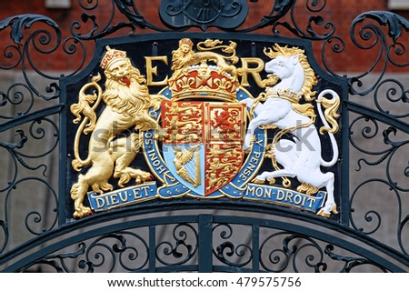 Coat of Arms Lion and Unicorn on Westminster Gate, London, England, UK #479575756