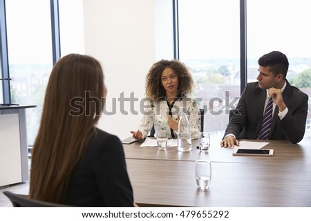 Female Candidate Being Interviewed For Position In Office #479655292