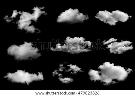 Set of isolated clouds on black #479823826