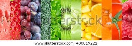 Fresh fruits and vegetables. Food background #480019222