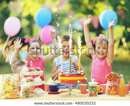 Children celebrating birthday in park #480030232