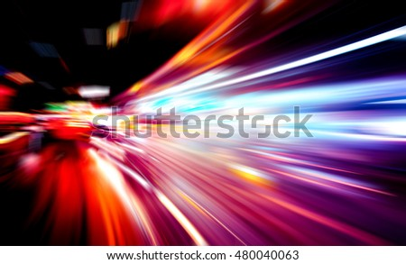 moving traffic light trails at night #480040063