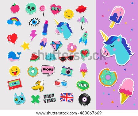 Pop art fashion chic patches, pins, badges and stickers Royalty-Free Stock Photo #480067669