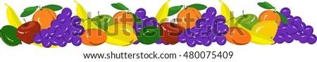 Hand drawn fruits garland with grape, mandarins, oranges, apples, bananas, limes, lemons on white, vector illustration #480075409